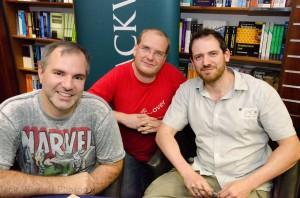 Ich mit Peter V. Brett (links) und Joe Abercrombie (rechts) bei einer Lesung im Forbidden Planet (London), 17.08.2012