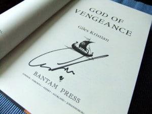 Giles Kristian: God of Vengeance auf der Titelseite signierte Ausgabe