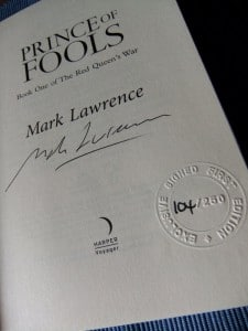 Mark Lawrence: Prince of Fools UK-Hardcover (2014) Signierte Titelseite