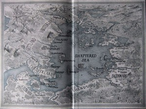 "Joe Abercrombie: Half a King Karte der ""Shattered Sea"" auf der Innenseite des UK-Hardcovers"