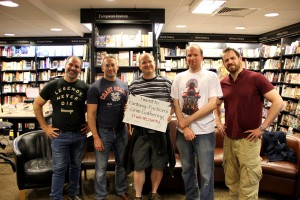 V.l.n.r.: Peter V. Brett, Myke Cole, Ich, Mark Lawrence und Joe Abercrombie