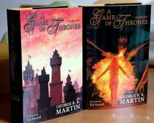 George R. R. Martin: A Game of Thrones Signierte und limitierte Ausgabe Band 1 (rechts), Band 2 (links)