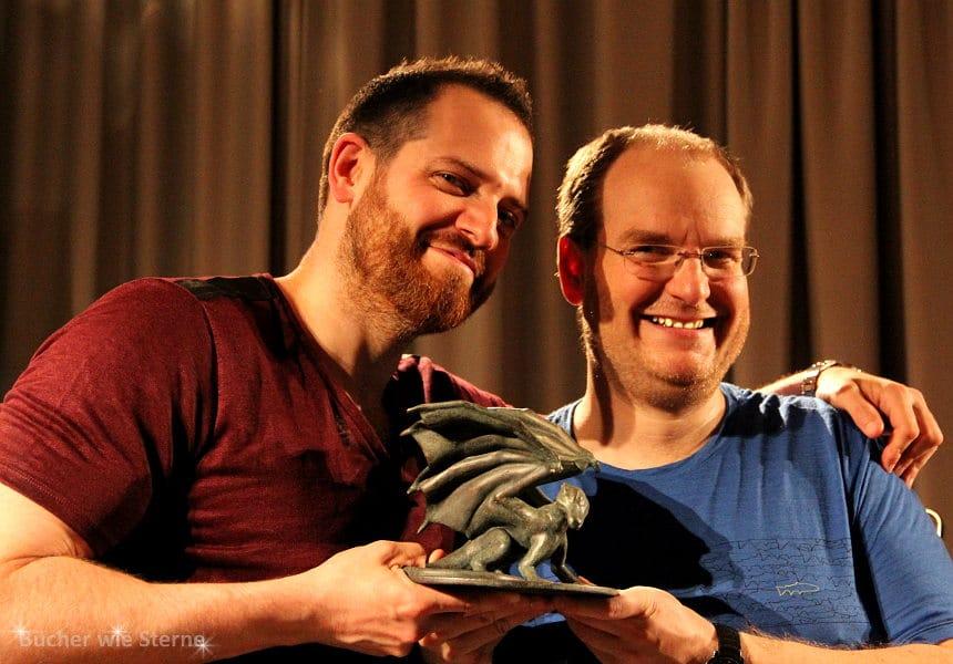 Joe Abercrombie mit mir und dem Schwäbischen Lindwurm bei der Preisverleihung in Stuttgart, 18. Juni 2015