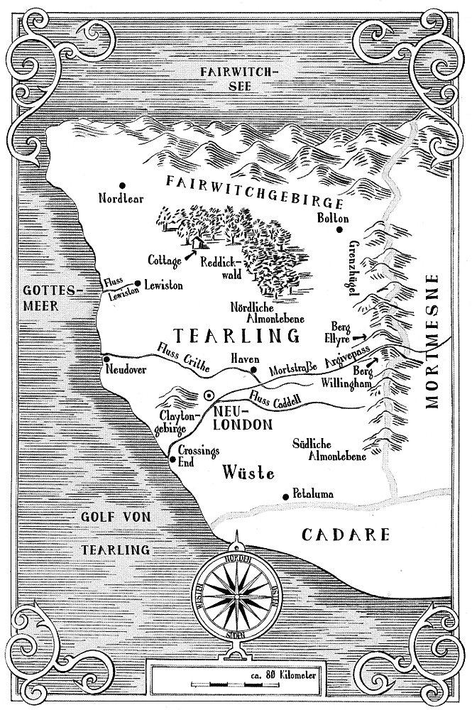 Die Königreiche und die wichtigsten Handlungsorte Karte aus der dt. Ausgabe (c) Heyne Verlag (2015)