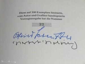 Signatur von Otfried Preußler und Herbert Holzing in der Vorzugsausgabe