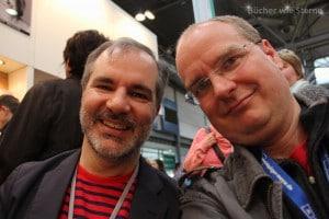 Peter V. Brett und ich beim Interview auf der Leipziger Buchmesse 2016