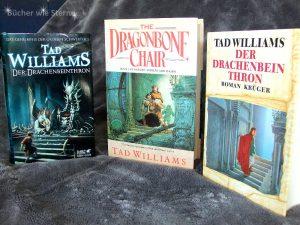 Tad Williams: Der Drachenbeinthron US-Erstausgabe (links) Dt. Erstausgabe, Fischer Verlag (mitte) Dt. Hardcover, Hobbit Presse (rechts)