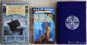 Robin Hobb: Assassin's Appentice. V.l.n.r.: UK-Erstausgabe von 1995, Deutsche TB-Erstausgabe von 1995, Jubiläumsausgabe von 2015.