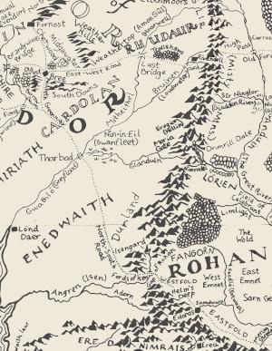 Teilkarte von J. R. R. Tolkiens Mittelerde