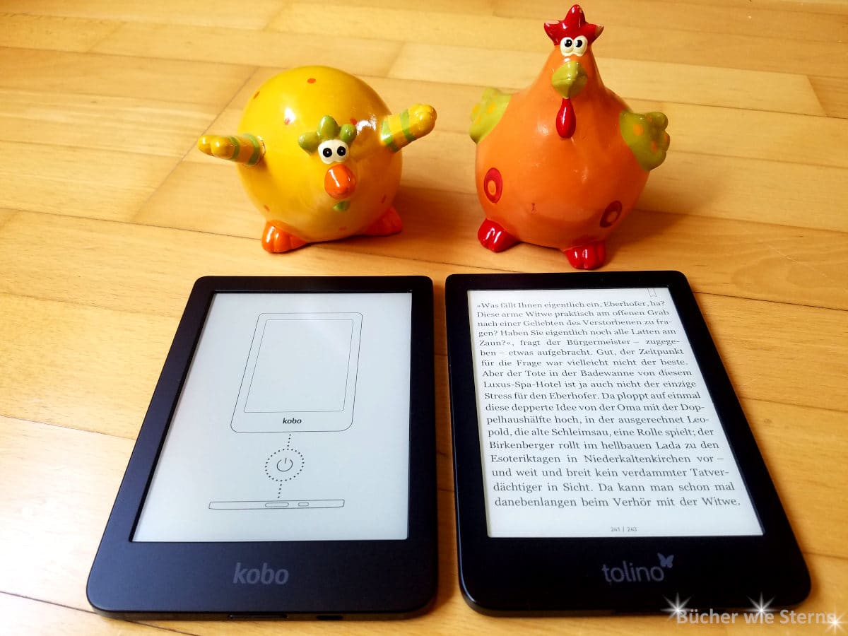 Der Kobo Clara HD und der Tolino Shine 3 nebeneinander.