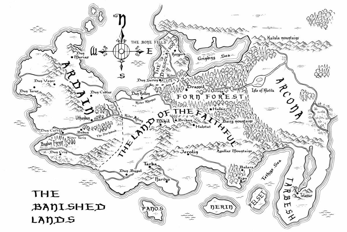 """Karte der Verfemten Lande, in denen das Buch """"Die Zeit der Schatten"""" spielt"""