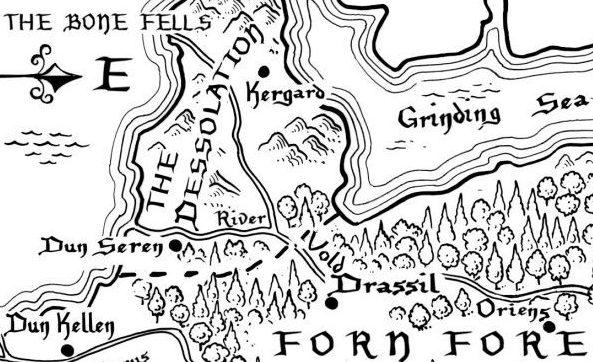 Die Zeit des Feuers, Kartenausschnitt der Verfemten Lande
