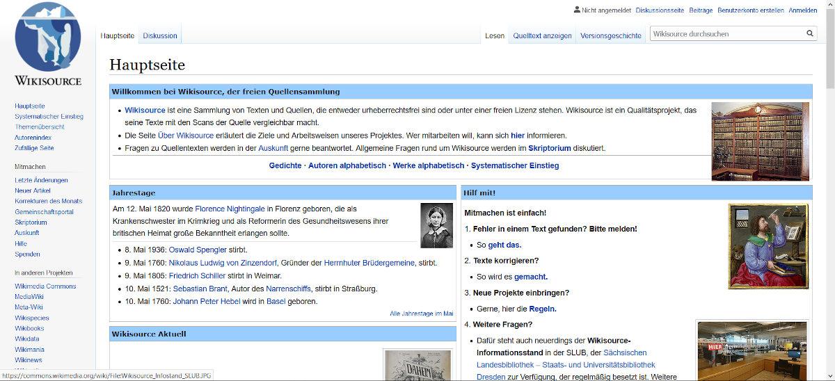 Kostenlose E-Books bei Wikisource
