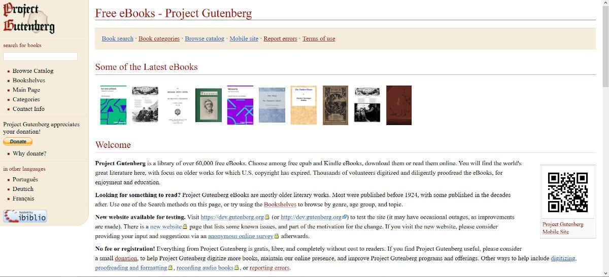 Kostenlose E-Books bei Project Gutenberg