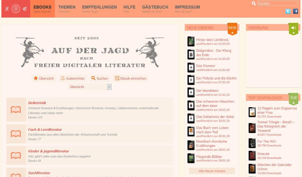 Kostenlose E-Books bei Zulu